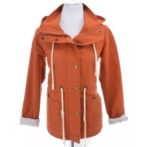 Ann Taylor Loft Hooded Nautical Jacket Orange XS